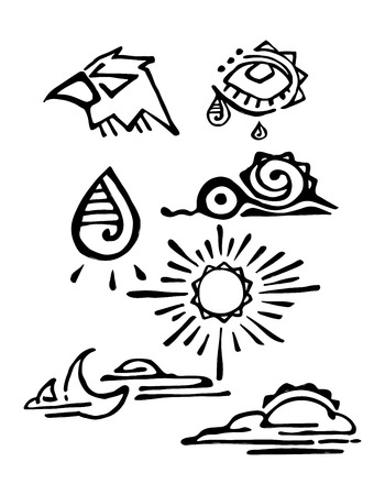 Hand drawn vector illustration or drawing of some prehispanic ethnic indigenous symbols