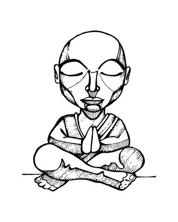meditation man: Hand drawn vector illustration or drawing of a cartoon budhist monk