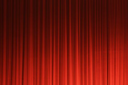 Photograph of a red theater curtain