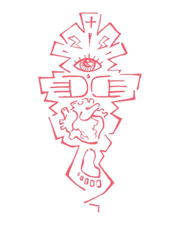 Hand drawn vector illustration or drawing of different symbols that represent creativity concept Ilustração