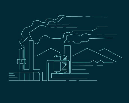 Hand drawn vector illustration or drawing of a factory and some mountains