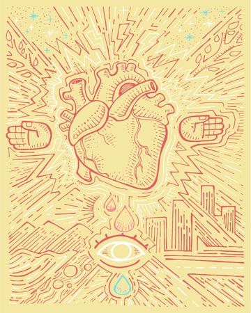 Urban electric heart illustration