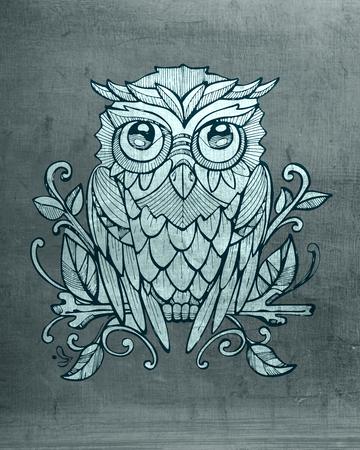Hand getrokken illustratie of tekening van een owlon een boomtak