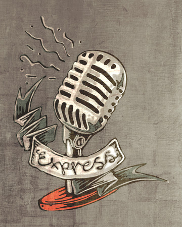 express: Hand drawn illustration of a retro microphone and the word Express