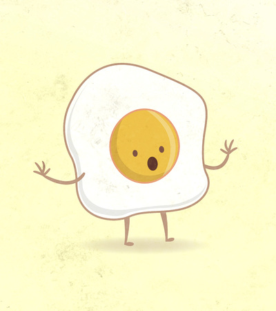 illustration or drawing of a cartoon fried egg with a surprised expression