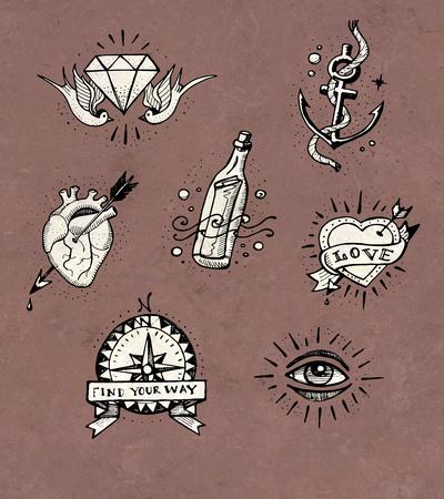 手描きイラストやいくつかのオールドスクールのタトゥー デザインの図面 写真素材
