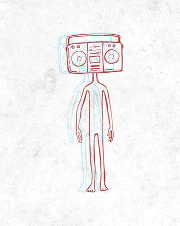 boombox: Hand drawn illustration or drawing of a man with a boombox instead of head Stock Photo