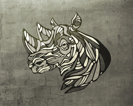 Hand drawn illustration or drawing of a rhino head and horns 版權商用圖片