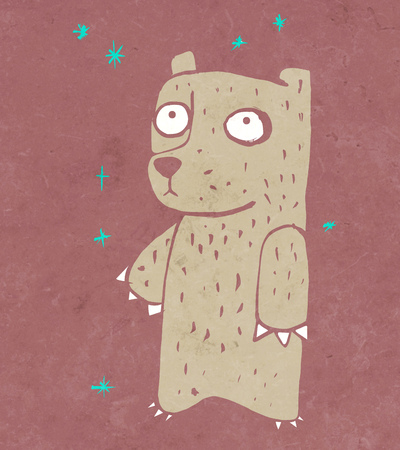 shy: Hand drawn illustration or drawing of a cartoon bear with a shy expression