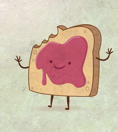 toasted bread: Illustration or drawing of a cartoon toasted bread with marmalade