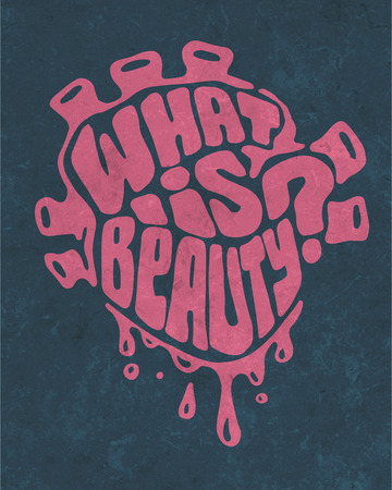 what: Hand drawn illustration or drawing of a human heart with the phrase: What is beauty? Stock Photo