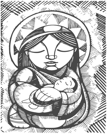 Hand drawn illustration or drawing of Virgin Mary Mother and Baby Jesus Christ, in an indigenous style Ilustração