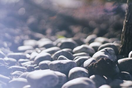 spheric: Photograph of some river gray smooth stones Stock Photo