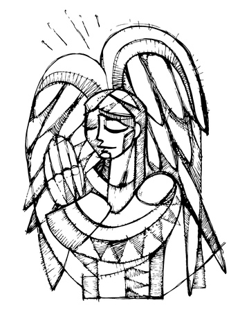 Hand drawn vector illustration or drawing of a Guardian Praying Angel