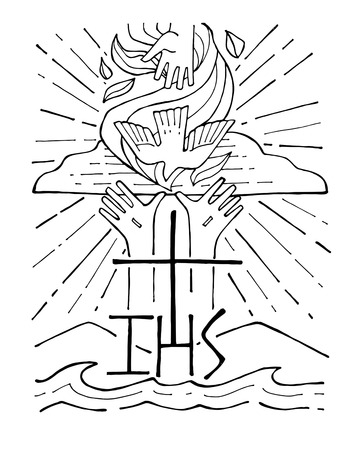 Hand drawn vector illustration or drawing of The Holy Trinity Ilustração