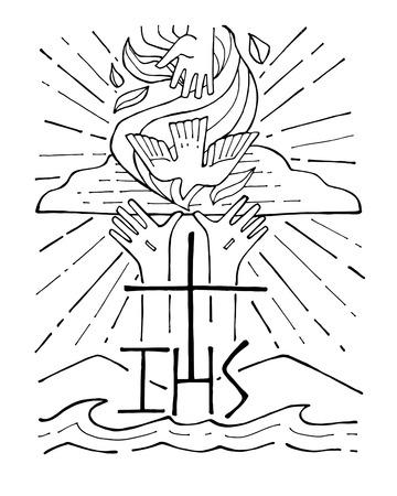 Ręcznie rysowane ilustracji wektorowych lub rysunek Trójcy