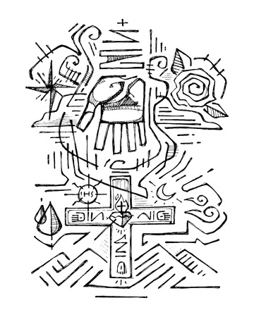 Hand getrokken vector illustratie of het trekken van de Heilige Drievuldigheid