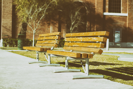 wood bench: Photograph of a wood bench on a park