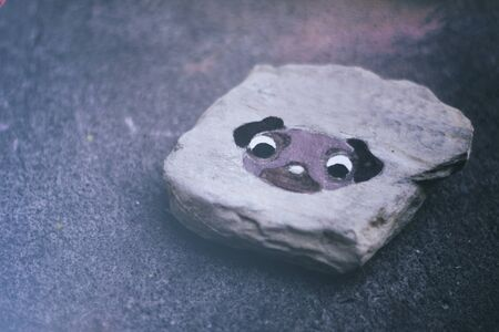 dog rock: Photograph of a stone or rock with a pug dog painted on it Stock Photo