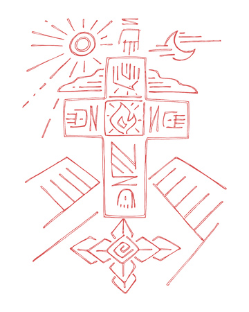 sacred trinity: Hand drawn vector illustration or drawing of a religous Cross with different symbols