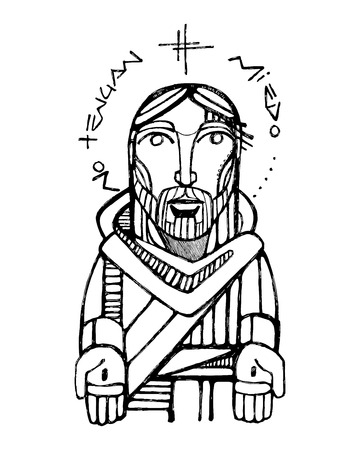 human hands: Hand drawn vector illustration or drawing of Jesus Christ with open wounded hands and the phrase: No tengan miedo, wich means: Dont be afraid