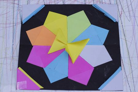origami paper: Photograph of a Colorful geometric origami paper