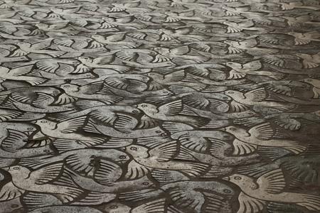 mosaic floor: Photograph of a birds pattern mosaic floor