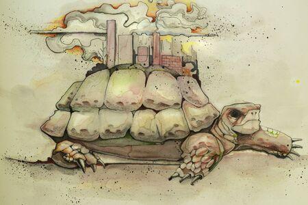手描き水彩イラストまたは都市や都市景観と亀の甲羅