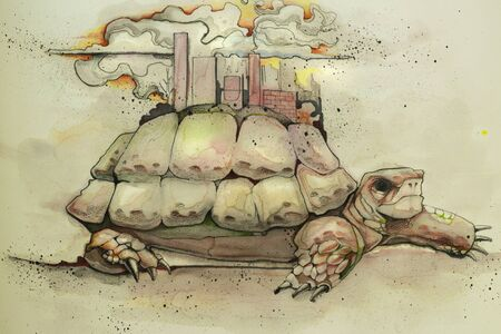 Hand drawn watercolor illustration or drawing of a turtle with a city or urban landscape on its shell