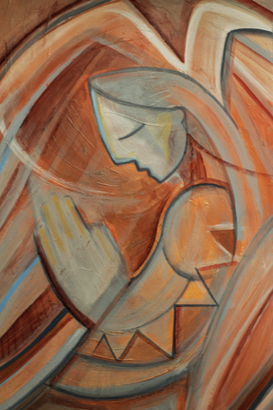 praying angel: Photograph of a praying angel in an expressionist style Stock Photo
