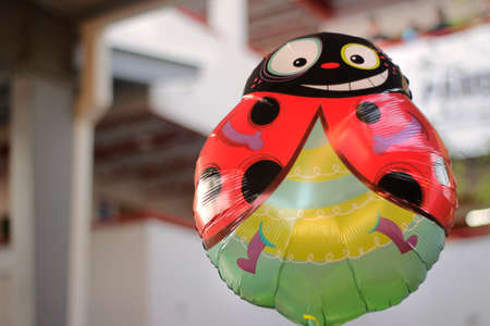 Photograph of a cartoon ladybug balloon