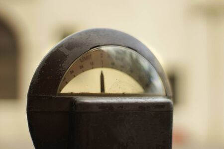 Photograph of a metal old rusty parking meter closeup and blurred background Stock fotó - 55421752
