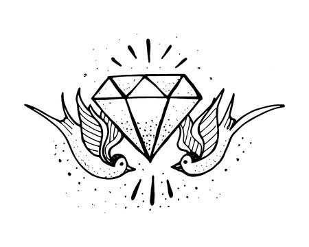 golondrina: dibujado a mano ilustración o dibujo de una pareja de golondrinas y un diamante Vectores