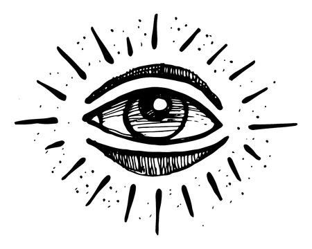 observing: Hand drawn illustration or drawing of a human eye Illustration