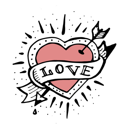 Hand drawn illustration of an old school style heart