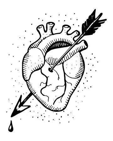 arteries: Hand drawn illustration of a human heart with an arrow Illustration