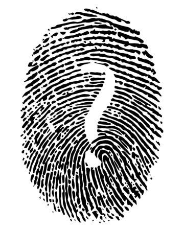 Hand drawn illustration ou dessin d'une impression numérique avec un point d'interrogation