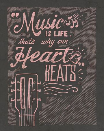 hand beats: Hand drawn illustration or drawing of the phrase: Music is life, thats why our heart beats Stock Photo