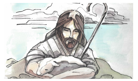 Hand drawn watercolor illustration or drawing of Jesus Christ Good Shepeherd hugging a sheep