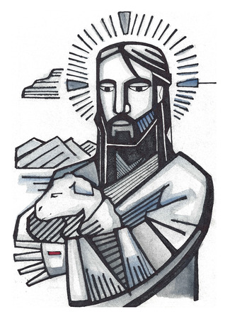 Hand drawn illustration or drawing of Jesus as Good Shepherd
