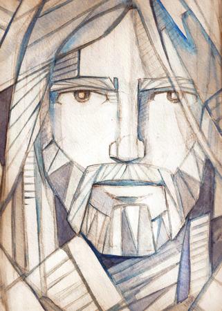 예수 그리스도의 얼굴의 손으로 그린 그림 또는 도면 스톡 콘텐츠
