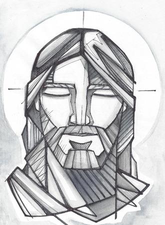 Hand getrokken illustratie of het trekken van Jezus Christus Bidden