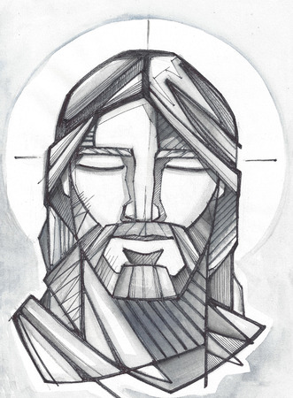 Hand drawn illustration or drawing of Jesus Christ Praying Stock Photo