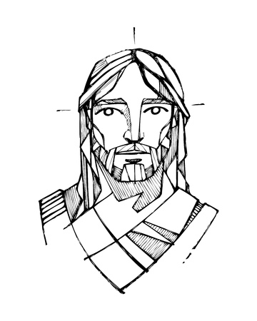 예수 그리스도의 얼굴의 손으로 그린 벡터 일러스트 레이 션 또는 도면
