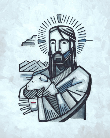 good shepherd: Hand drawn illustration or drawing of Jesus as Good Shepherd