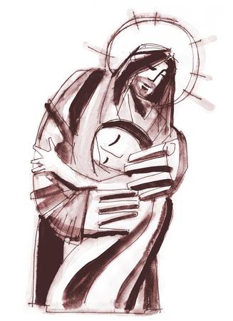 Hand drawn illustration ou dessin de Jésus-Christ étreindre une femme Banque d'images