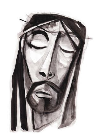the suffering: Hand drawn illustration or drawing of Jesus Christ suffering face Stock Photo