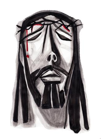 手描きイラストや顔を苦しんでいるイエス ・ キリストの図面