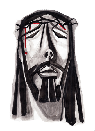 Hand drawn illustration or drawing of Jesus Christ suffering face Фото со стока