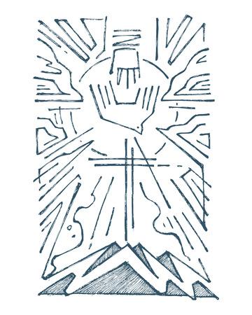 Hand getrokken vector illustratie of het trekken van de Heilige Drievuldigheid religieus symbool Stockfoto